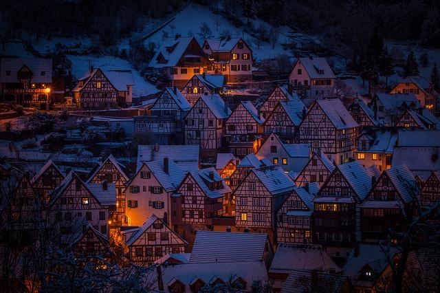 zasněžené domy